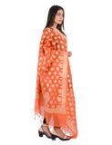 Banjara India Women's Banarasi Kora Silk Zari Dupatta - Madhuri-Orange