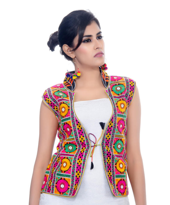Banjara India Women's Dupion Silk Kutchi Embroidered Sleeveless Waist Length Jacket/Koti/Shrug (Bharchak) - MJK-BHK01