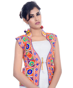 Banjara India Women's Dupion Silk Kutchi Embroidered Sleeveless Waist Length Jacket/Koti/Shrug (Bharchak) - MJK-BHK02
