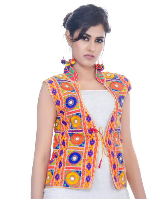 Banjara India Women's Dupion Silk Kutchi Embroidered Sleeveless Waist Length Jacket/Koti/Shrug (Bharchak) - MJK-BHK03