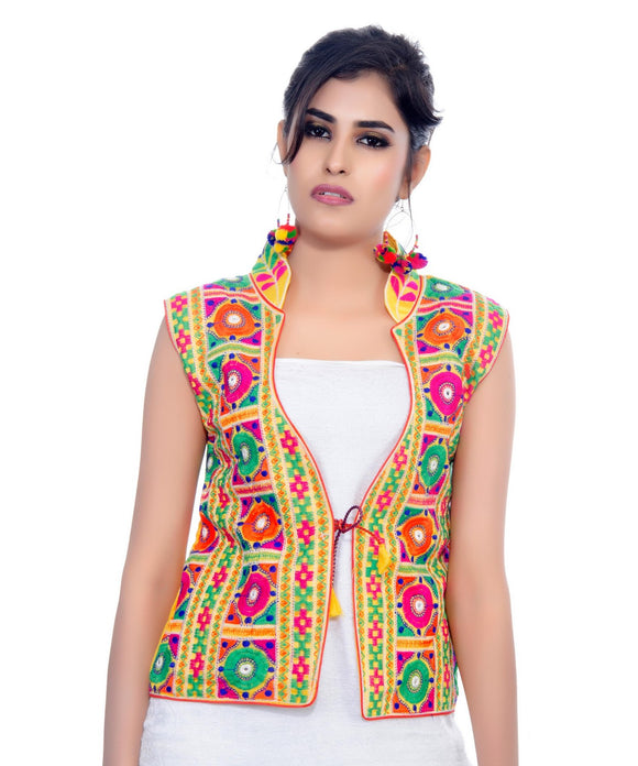 Banjara India Women's Dupion Silk Kutchi Embroidered Sleeveless Waist Length Jacket/Koti/Shrug (Bharchak) - MJK-BHK05