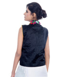 Banjara India Women's Dupion Silk Kutchi Embroidered Sleeveless Waist Length Jacket/Koti/Shrug (Chakachak) - MJK-CHK01