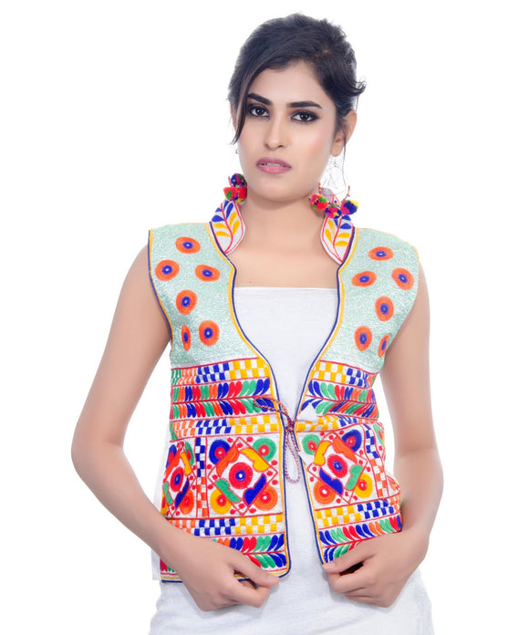 Banjara India Women's Dupion Silk Kutchi Embroidered Sleeveless Waist Length Jacket/Koti/Shrug (Chakachak) - MJK-CHK02