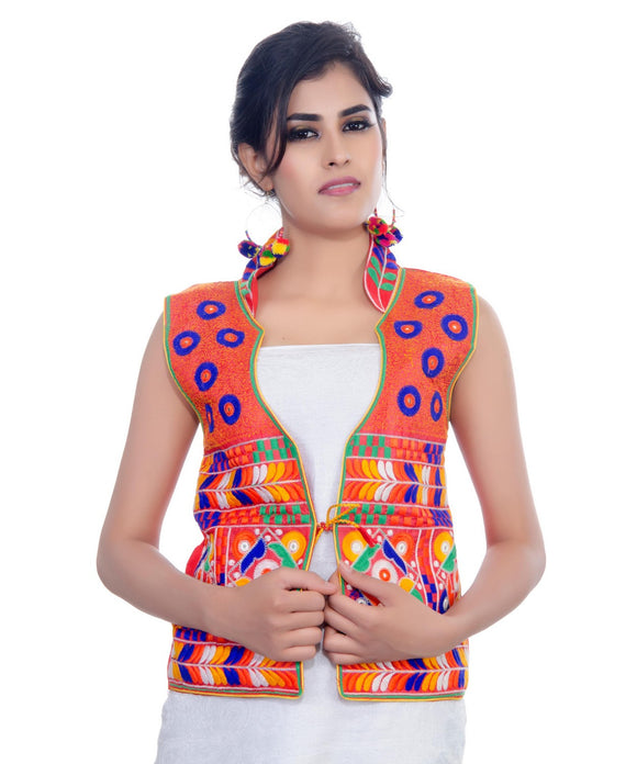 Banjara India Women's Dupion Silk Kutchi Embroidered Sleeveless Waist Length Jacket/Koti/Shrug (Chakachak) - MJK-CHK03