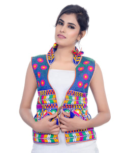 Banjara India Women's Dupion Silk Kutchi Embroidered Sleeveless Waist Length Jacket/Koti/Shrug (Chakachak) - MJK-CHK04