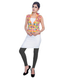 Banjara India Women's Dupion Silk Kutchi Embroidered Sleeveless Waist Length Jacket/Koti/Shrug (Chakachak) - MJK-CHK05