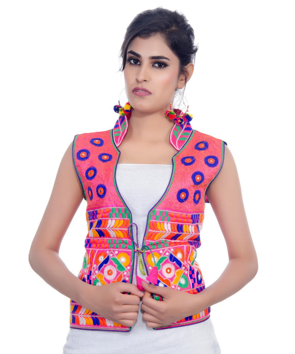 Banjara India Women's Dupion Silk Kutchi Embroidered Sleeveless Waist Length Jacket/Koti/Shrug (Chakachak) - MJK-CHK06