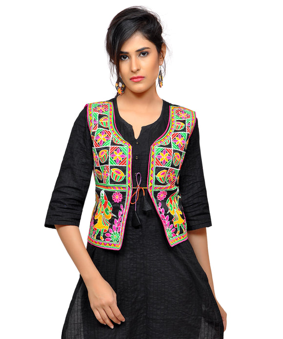 Banjara India Women's Dupion Silk Kutchi Embroidered Sleeveless Waist Length Jacket/Koti/Shrug (Disco) - MJK-DISCO01