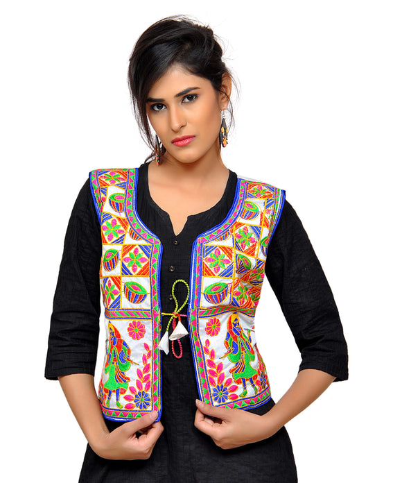 Banjara India Women's Dupion Silk Kutchi Embroidered Sleeveless Waist Length Jacket/Koti/Shrug (Disco) - MJK-DISCO02