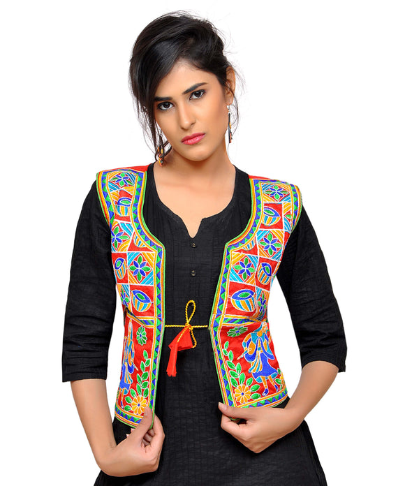 Banjara India Women's Dupion Silk Kutchi Embroidered Sleeveless Waist Length Jacket/Koti/Shrug (Disco) - MJK-DISCO03