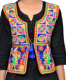 Banjara India Women's Dupion Silk Kutchi Embroidered Sleeveless Waist Length Jacket/Koti/Shrug (Disco) - MJK-DISCO04