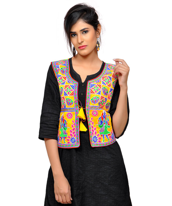 Banjara India Women's Dupion Silk Kutchi Embroidered Sleeveless Waist Length Jacket/Koti/Shrug (Disco) - MJK-DISCO05