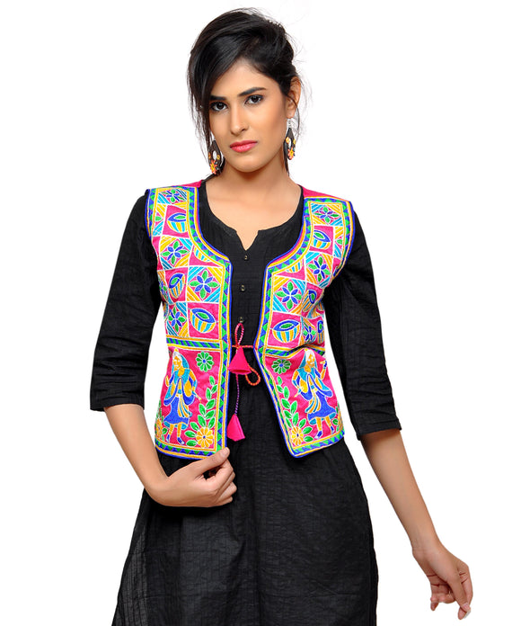 Banjara India Women's Dupion Silk Kutchi Embroidered Sleeveless Waist Length Jacket/Koti/Shrug (Disco) - MJK-DISCO06