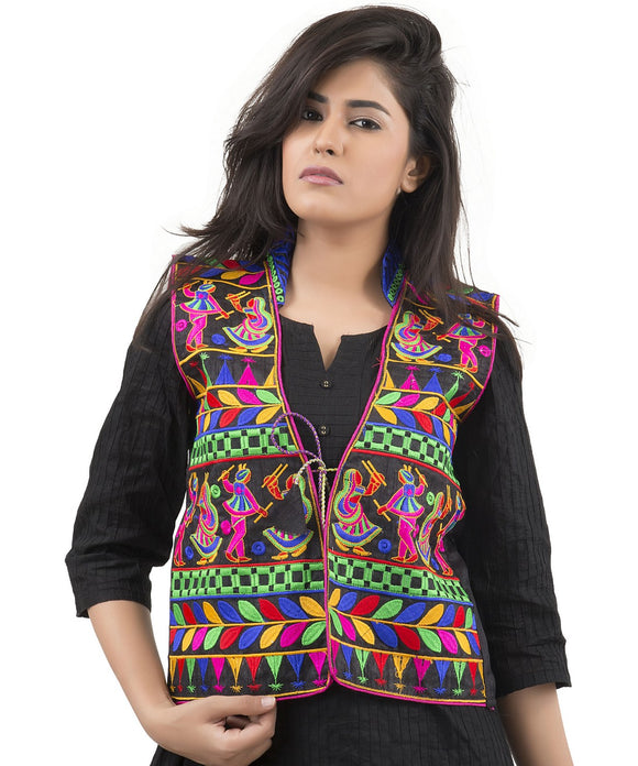 Banjara India Women's Dupion Silk Kutchi Embroidered Sleeveless Waist Length Jacket/Koti/Shrug (Garba) - MJK-GRB01