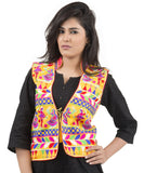 Banjara India Women's Dupion Silk Kutchi Embroidered Sleeveless Waist Length Jacket/Koti/Shrug (Garba) - MJK-GRB05