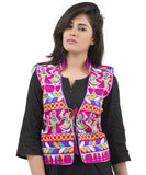 Banjara India Women's Dupion Silk Kutchi Embroidered Sleeveless Waist Length Jacket/Koti/Shrug (Garba) - MJK-GRB06