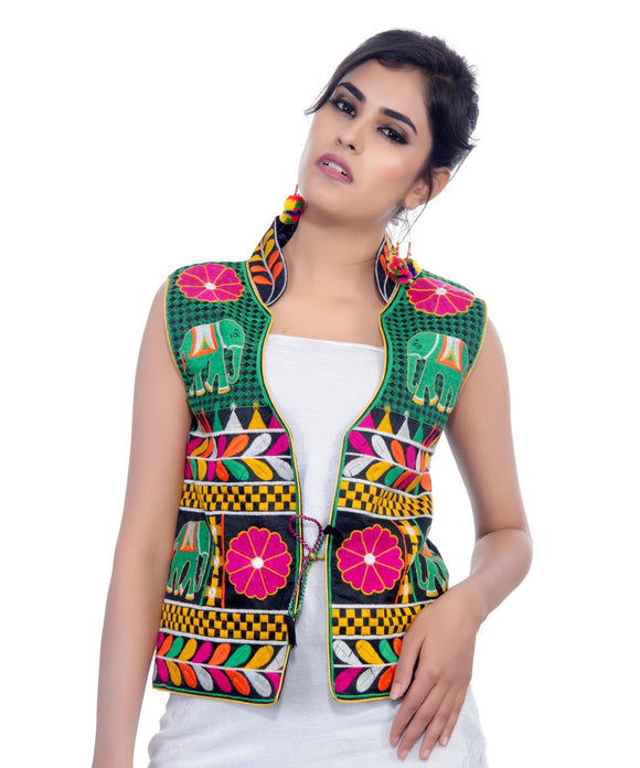 Banjara India Women's Dupion Silk Kutchi Embroidered Sleeveless Waist Length Jacket/Koti/Shrug (Haathi) - MJK-HTH01