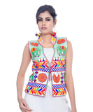 Banjara India Women's Dupion Silk Kutchi Embroidered Sleeveless Waist Length Jacket/Koti/Shrug (Haathi) - MJK-HTH02