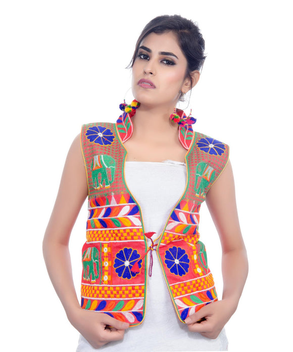 Banjara India Women's Dupion Silk Kutchi Embroidered Sleeveless Waist Length Jacket/Koti/Shrug (Haathi) - MJK-HTH03