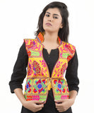 Banjara India Women's Dupion Silk Kutchi Embroidered Sleeveless Waist Length Jacket/Koti/Shrug (Pankhida) - MJK-PKHD05