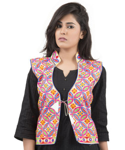 Banjara India Women's Dupion Silk Kutchi Embroidered Sleeveless Waist Length Jacket/Koti/Shrug (Rasna) - MJK-RAS02