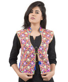 Banjara India Women's Dupion Silk Kutchi Embroidered Sleeveless Waist Length Jacket/Koti/Shrug (Rasna) - MJK-RAS04