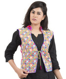 Banjara India Women's Dupion Silk Kutchi Embroidered Sleeveless Waist Length Jacket/Koti/Shrug (Rasna) - MJK-RAS06