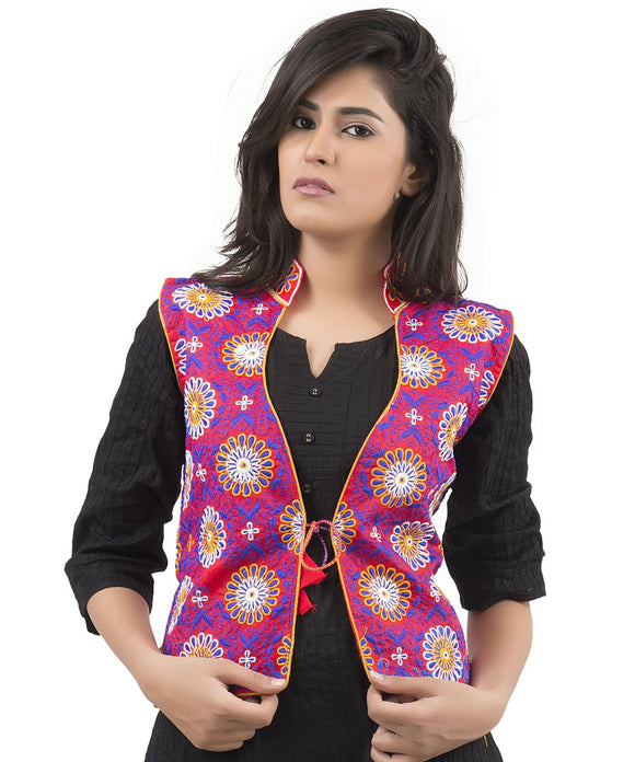 Banjara India Women's Dupion Silk Kutchi Embroidered Sleeveless Waist Length Jacket/Koti/Shrug (Sunflower) - MJK-SUN03