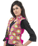 Banjara India Women's Dupion Silk Kutchi Embroidered Sleeveless Waist Length Jacket/Koti/Shrug (Sunflower) - MJK-SUN06
