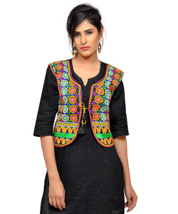 Banjara India Women's Dupion Silk Kutchi Embroidered Sleeveless Waist Length Jacket/Koti/Shrug (Chakkar) - MJK-CKKR01