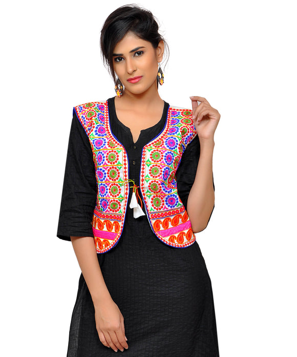 Banjara India Women's Dupion Silk Kutchi Embroidered Sleeveless Waist Length Jacket/Koti/Shrug (Chakkar) - MJK-CKKR02