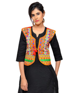 Banjara India Women's Dupion Silk Kutchi Embroidered Sleeveless Waist Length Jacket/Koti/Shrug (Chakkar) - MJK-CKKR03