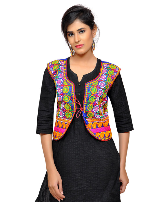 Banjara India Women's Dupion Silk Kutchi Embroidered Sleeveless Waist Length Jacket/Koti/Shrug (Chakkar) - MJK-CKKR04