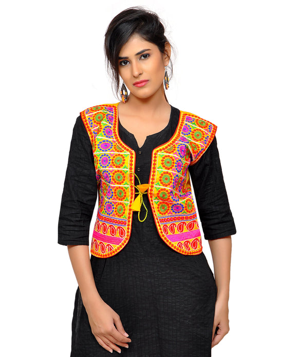 Banjara India Women's Dupion Silk Kutchi Embroidered Sleeveless Waist Length Jacket/Koti/Shrug (Chakkar) - MJK-CKKR05