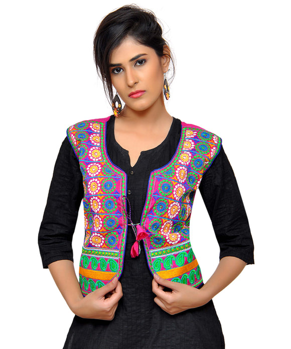 Banjara India Women's Dupion Silk Kutchi Embroidered Sleeveless Waist Length Jacket/Koti/Shrug (Chakkar) - MJK-CKKR06