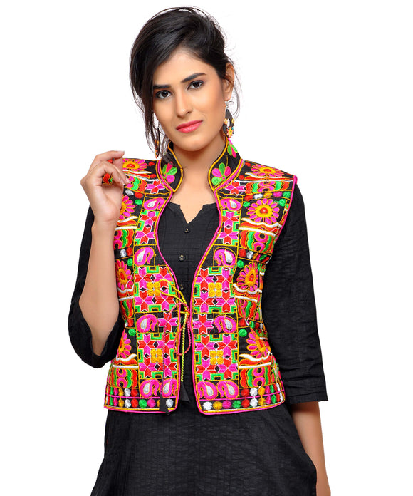 Banjara India Women's Dupion Silk Kutchi Embroidered Sleeveless Waist Length Jacket/Koti/Shrug (Small Keri) - MJK-SKERI01