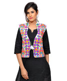 Banjara India Women's Dupion Silk Kutchi Embroidered Sleeveless Waist Length Jacket/Koti/Shrug (Small Keri) - MJK-SKERI02