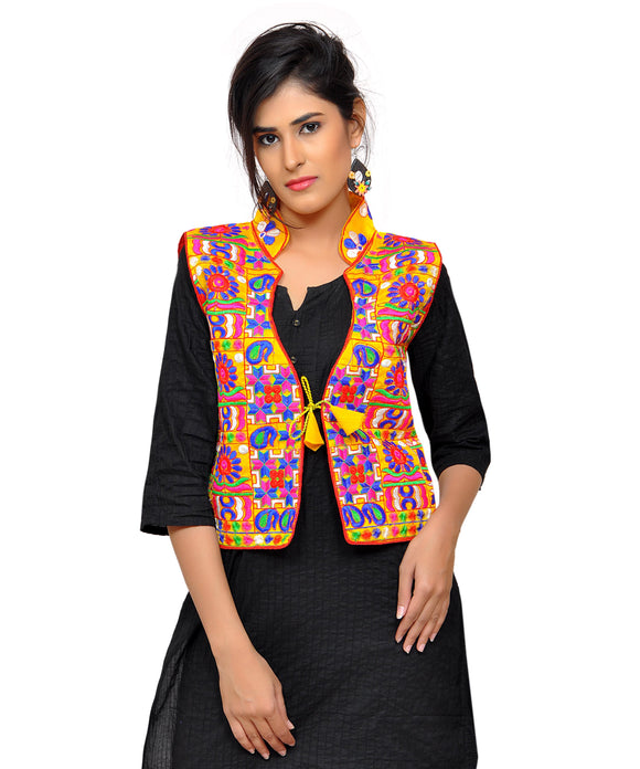 Banjara India Women's Dupion Silk Kutchi Embroidered Sleeveless Waist Length Jacket/Koti/Shrug (Small Keri) - MJK-SKERI05