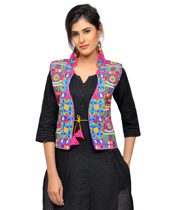 Banjara India Women's Dupion Silk Kutchi Embroidered Sleeveless Waist Length Jacket/Koti/Shrug (Small Keri) - MJK-SKERI06