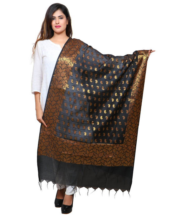 Banjara India Women's Banarasi Kora Silk Mango Butti Dupatta- Black