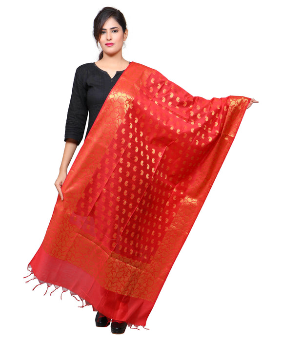 Banjara India Women's Banarasi Kora Silk Mango Butti Dupatta- Red