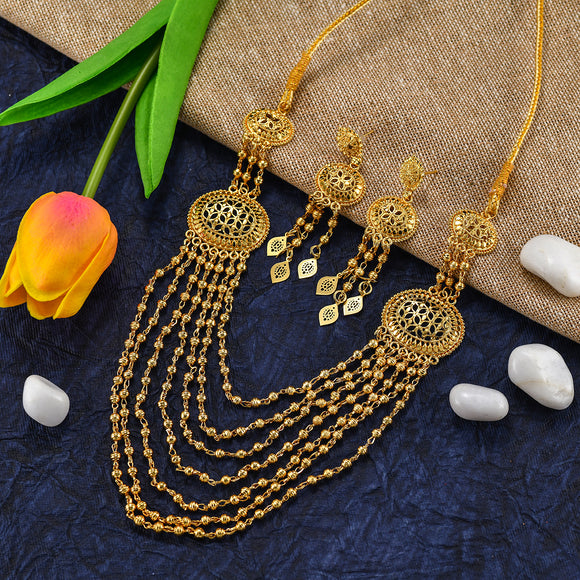 Charms Traditional Look Gold Plated Jewellery Set Necklace with Earrings for Women NECK-25