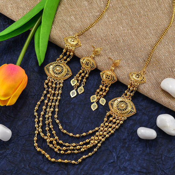 Charms Gold Plated Traditional Layered Jewellery Sets for Women