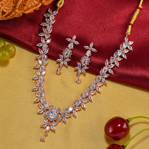 Charms Sparkling AD Jewellery Set with Earrings for Women/Girls (NECK-35)