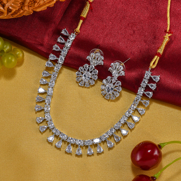 Charms Sparkling AD Jewellery Set with Earrings for Women/Girls