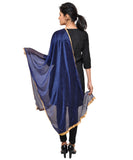 Net Lycra Dupatta-Dark Blue