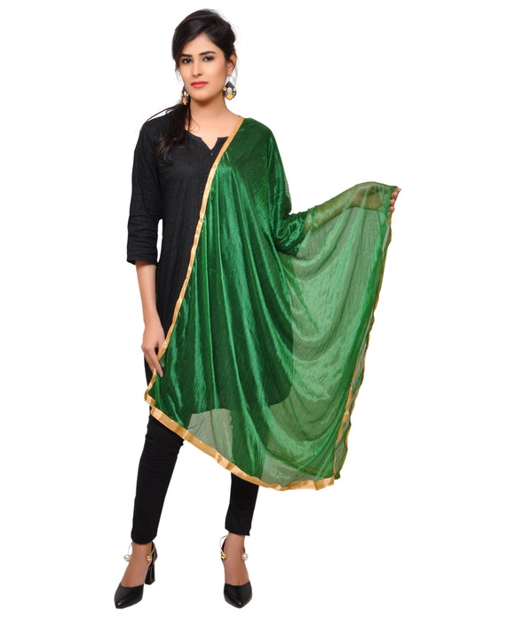 Net Lycra Dupatta-Dark Green