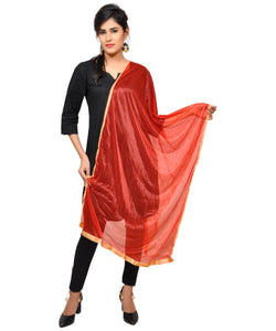 Banjara India Net Lycra Plain Dupatta_Red
