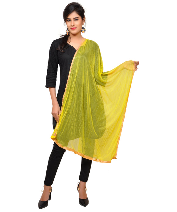 Net Lycra Dupatta-Yellow