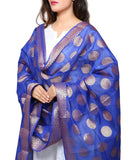 Banjara India Women's Banarasi Kora Silk Polka Dot Butti Dupatta- Blue